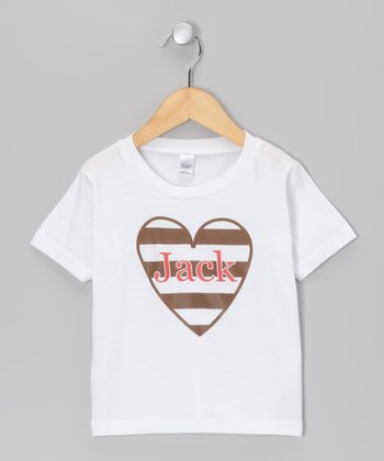 White & Brown Heart Personalized Tee - Infant, Toddler & Kids