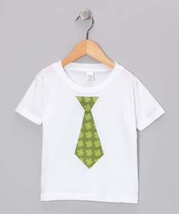Preppy Mama White & Green Clover Tie Tee - Infant, Toddler & Boys