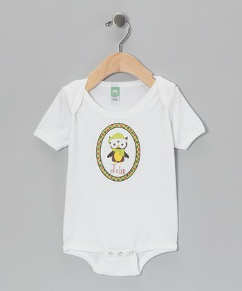 Green Scarf Owl Personalized Bodysuit - Infant