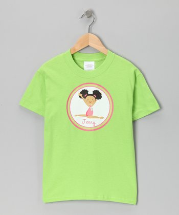 Lime Black-Haired Girl Personalized Tee - Infant, Toddler & Girls
