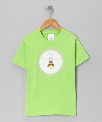 Lime Brown-Haired Girl Personalized Tee - Infant, Toddler & Girls