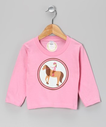 Pink Brown-Haired Girl Horse Tee - Infant, Toddler & Girls