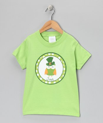 Lime Owl Leprechaun Personalized Tee - Infant, Toddler & Kids