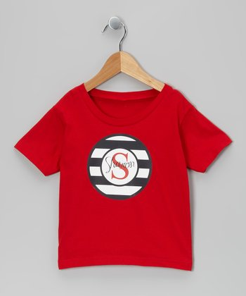 Red & Navy Personalized Tee - Infant, Toddler & Kids