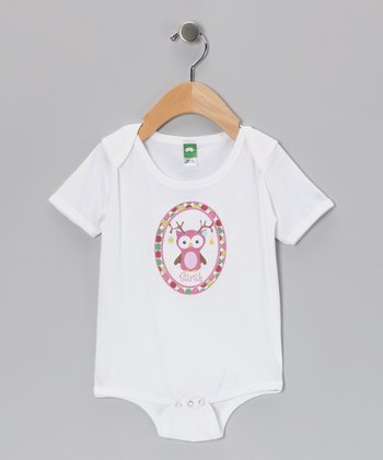 Pink Antler Owl Personalized Bodysuit - Infant