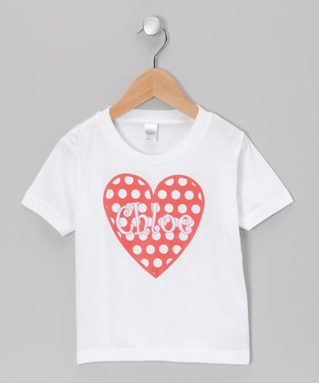 White Polka Dot Heart Personalized Tee - Infant, Toddler & Kids