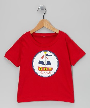 Red Sailboat Personalized Tee - Infant, Toddler & Kids