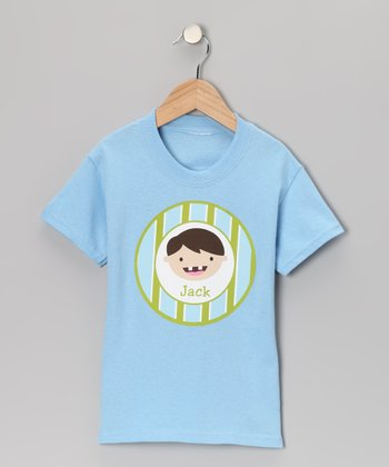 Blue Brown-Haired Tooth Fairy Personalized Tee - Toddler & Boys