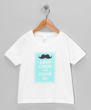 White & Blue 'Stache On' Tee - Infant, Toddler & Kids