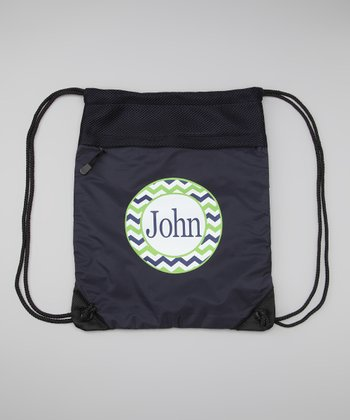 Navy Zigzag Personalized Drawstring Backpack