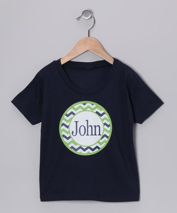 Navy Zigzag Personalized Tee - Infant, Toddler & Kids