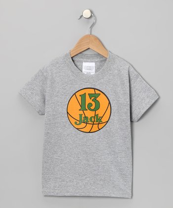 Gray Basketball Personalized Tee - Infant, Toddler & Kids
