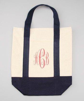 Navy & Red Canvas Monogram Tote