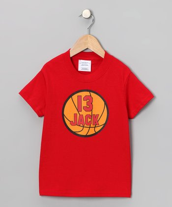 Red Basketball Personalized Tee - Infant, Toddler & Kids