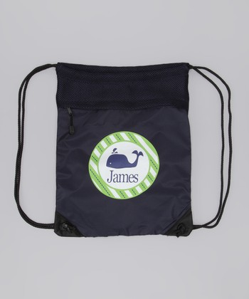 Navy Whale Personalized Drawstring Backpack