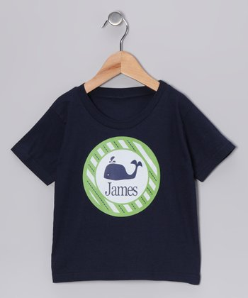 Navy Whale Personalized Tee - Infant, Toddler & Kids