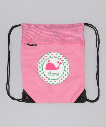 Pink Whale Personalized Drawstring Backpack