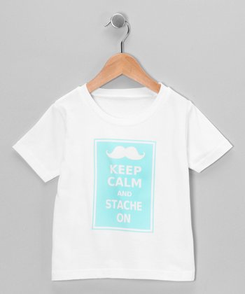 White 'Stache On' Tee - Infant, Toddler & Kids