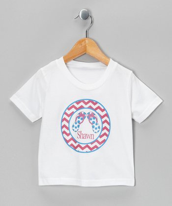 White & Blue Flip-Flop Tee - Infant, Toddler & Girls