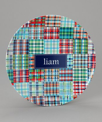 Blue Madras Personalized Plate
