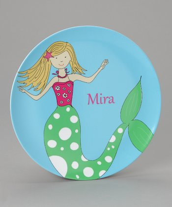Sky Blue Mermaid Personalized Plate