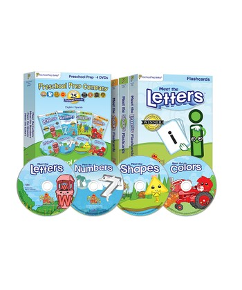 Letters, Numbers, Shapes & Colors DVDs & Flashcards Set