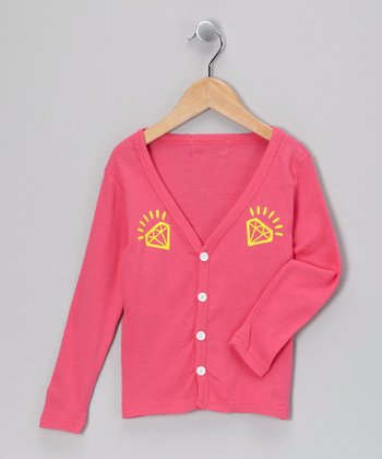 Hot Pink Diamond Cardigan - Toddler & Girls