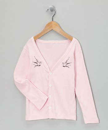 Light Pink Bird Cardigan - Toddler & Girls