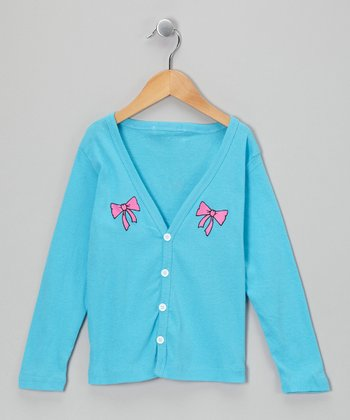 Turquoise Bow Cardigan - Girls