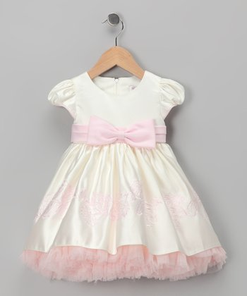 Ivory & Pink Cap-Sleeve Dress - Infant & Toddler