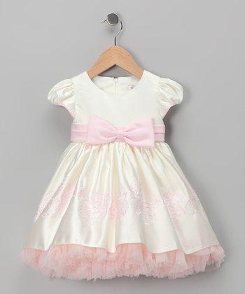 Ivory & Pink Cap-Sleeve Dress - Infant, Toddler & Girls