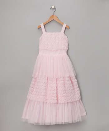 Pink Rosette Tiered Dress - Toddler & Girls