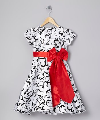 Black & Red Swirl Sash Dress - Toddler & Girls