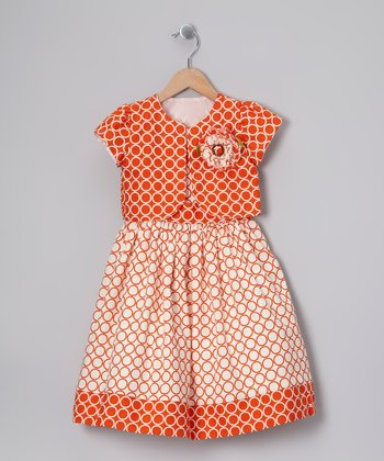 Orange Geometric Dress & Shrug - Toddler & Girls