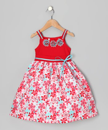 Red & Aqua Daisy Dress - Toddler & Girls