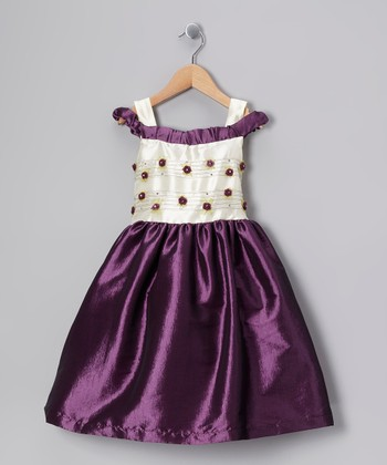 Purple & White Rosebud Dress - Toddler & Girls