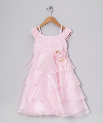 Pink Flower Tier Dress - Toddler & Girls