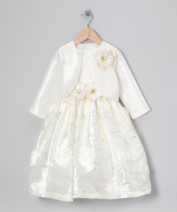 Ivory Floral Sequin Dress & Bolero - Toddler & Girls