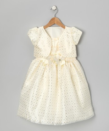 Ivory Sparkle Dress & Shrug - Toddler & Girls