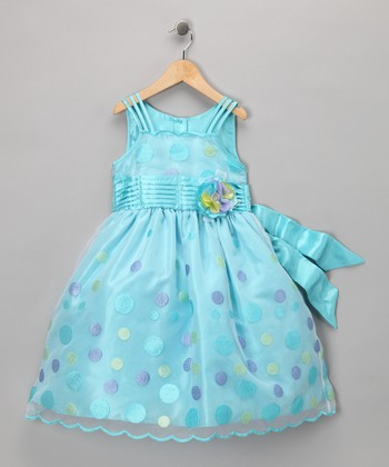 Turquoise Polka Dot Party Dress - Toddler & Girls