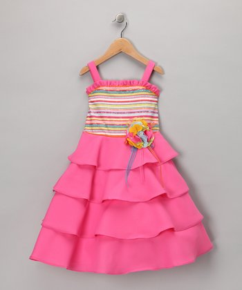 Fuchsia Tiered Ruffle Dress - Toddler & Girls