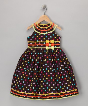 Brown Polka Dot Bow Dress - Toddler & Girls