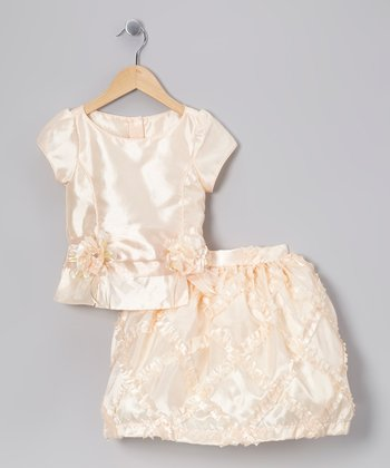Peach Rosette Top & Frill Skirt - Girls