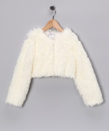 Champagne Faux Fur Bolero - Girls