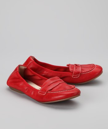 Red Loafer Ballet Flat