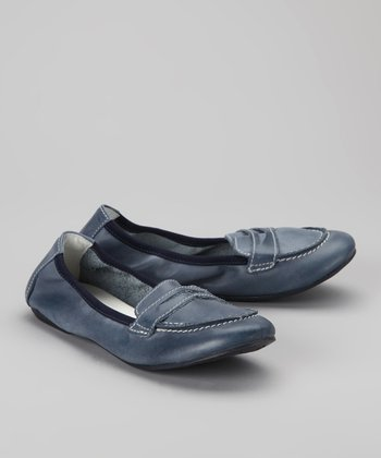 Blue Loafer Ballet Flat