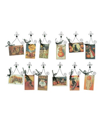 Halloween Postcard Ornament Set