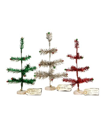 Silver, Ruby & Emerald Tiny Tinsel Tree Set