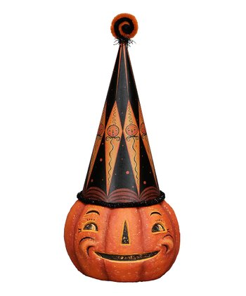 Diamond Hat Jack-O'-Lantern Figurine