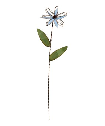 Large Blue Flower Tin Garden Stake